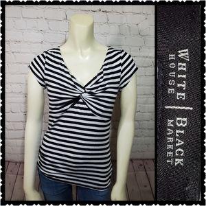 WHBM xs striped v neck black white top womans